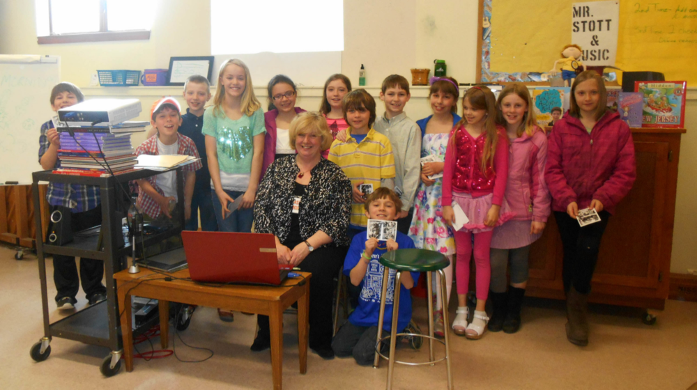 Visiting with Mrs. Dickens class at Union Elementary, Maine