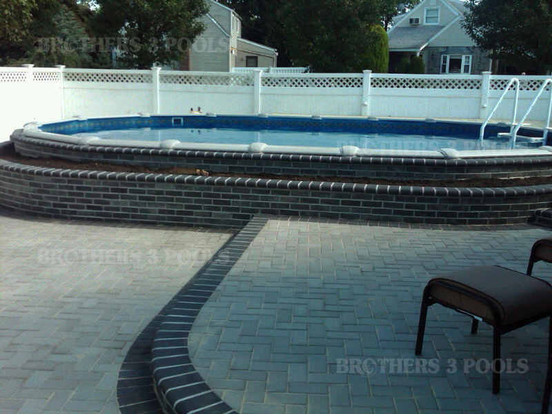 Semi inground brothers 3 pools for Above ground swimming pool dealers