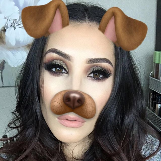 The 🐶 filter is here to stay @hudabeauty Rose Gold Palette on the eyes, Tutorial coming Friday! #hudabeauty  #filter #filters #dog #makeup #mua