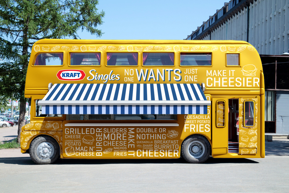To further spread the word, a custom Kraft food truck will travel around, serving up cheese filled classics, without skimping on the Kraft. Why double decker? Because one level isn't enough.
