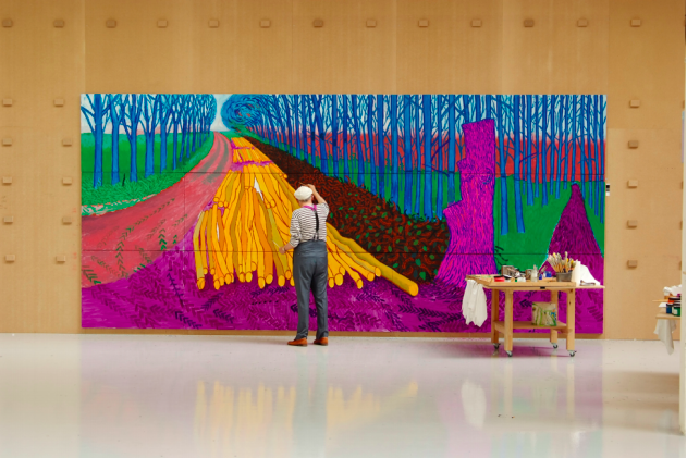 David Hockney Painting Winter Timber in Bridlington, July 2009 © David Hockney. Photo courtesy of Jean-Pierre Gonçalves de Lima