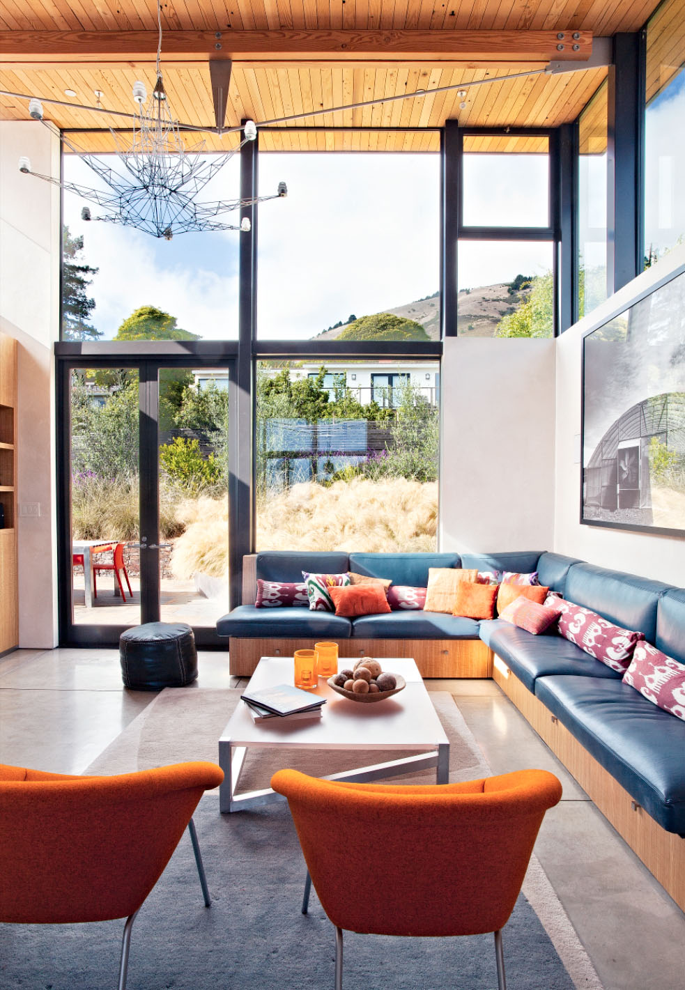 Seating Area With View Up Mt Tam   Stinson Beach Contemporary Home, Marin  County