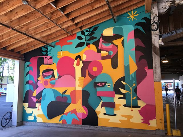 First complete mural of the season by Spanish artist @zoonchez for Granville Island's #artsmash2018 !!! Come celebrate next Saturday from 1pm-9pm.