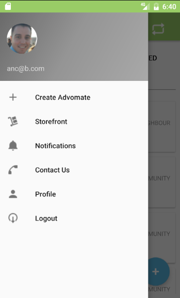 The user menu on the Android version.