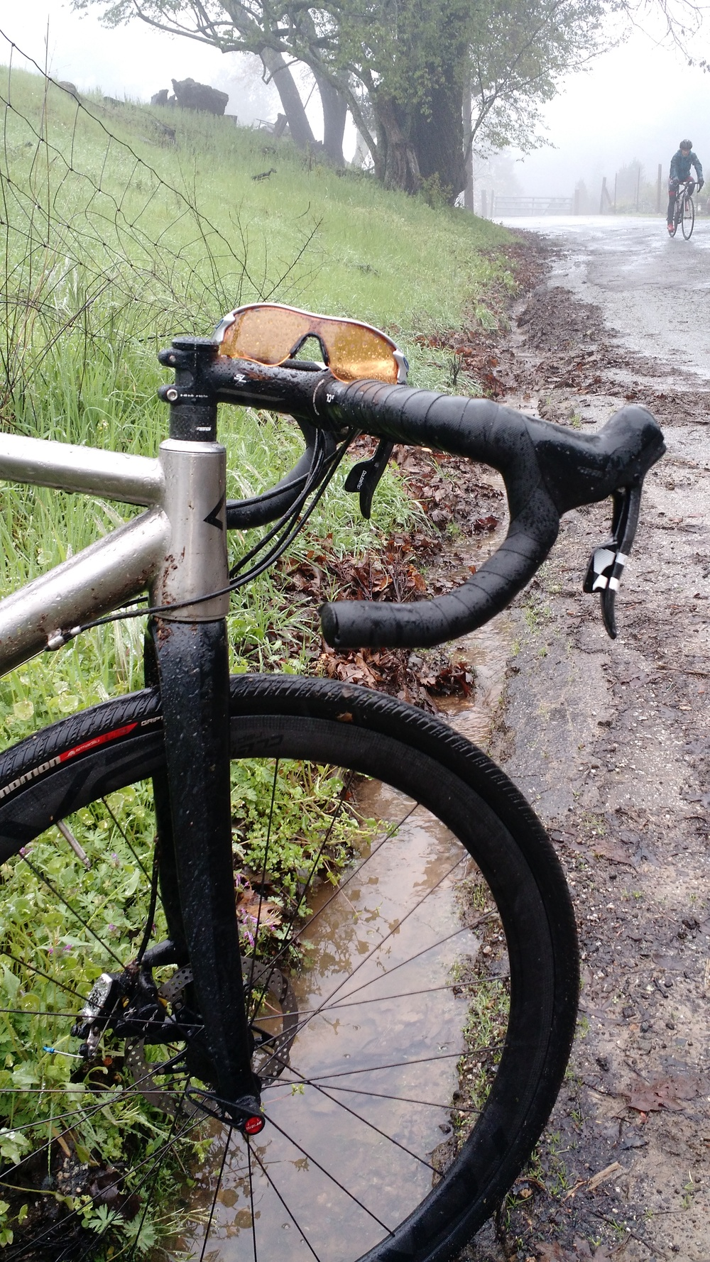 Riding in the rain, Mountain Charlie, Santa Cruz