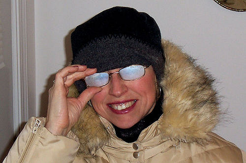 fogged glasses wearing coat