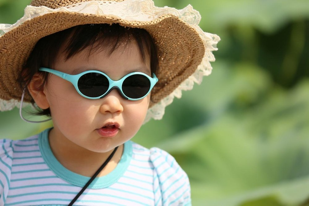 Baby wearing sunglasses and sunhat