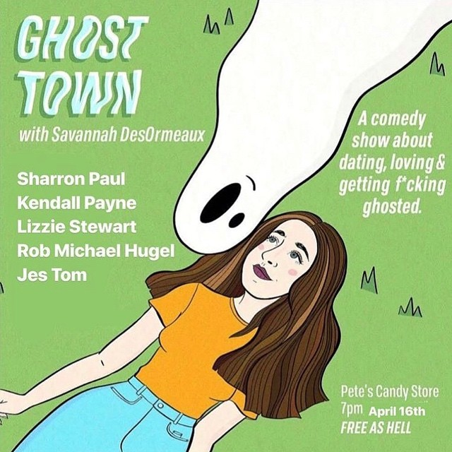 Great show this eve- brought to you by @savannahdeso w/ @kendallpaynee @sharronicanyc Lizzie Stewart, and @robmichaelhugel #freecomedy #funnywomen #cocktails #ghosted