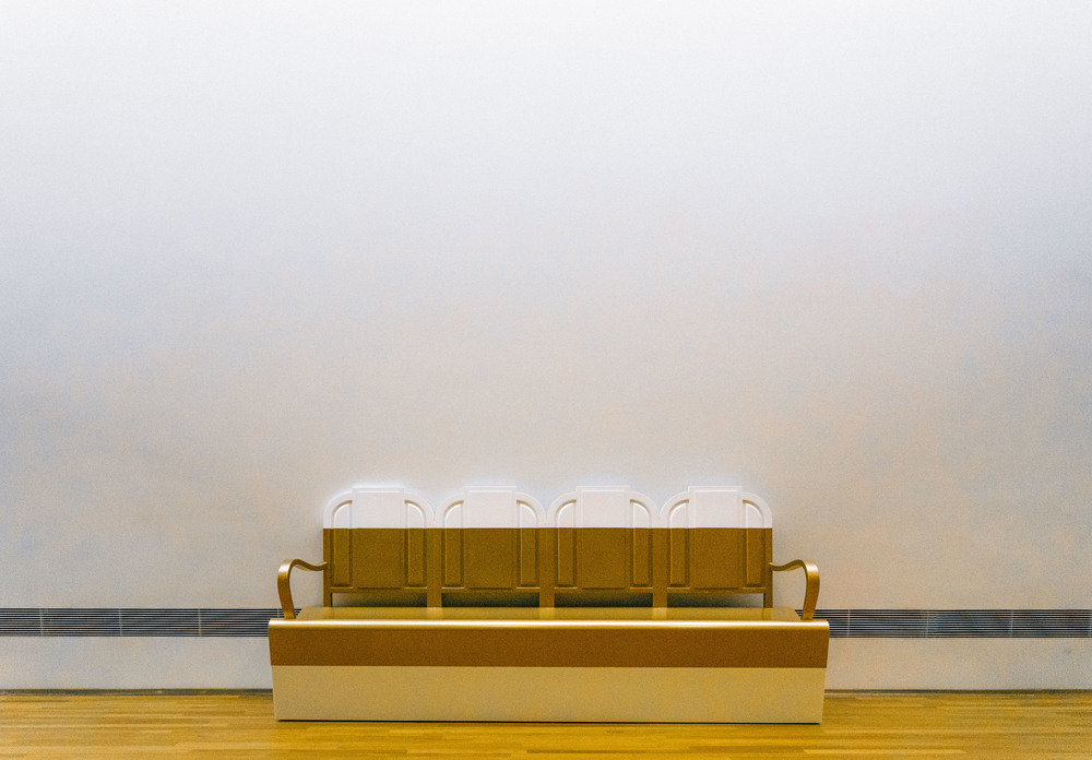 Golden benches of the hour.