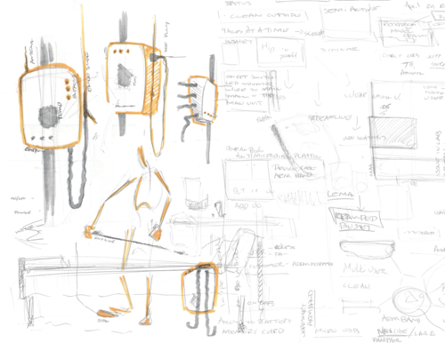 Medical Device Sketch & Experience Notes ( 2016 )   Problem  Minimize User Confusion   Responsibilities  Investigate & Evaluate Current Use Cases ( Discovery, Storyboard - Insight )  Conceptualize & Present Ideas through Sketches, Models and Renderings   Challenges  How Form-Factor Fits in Environment Clarify User Interface and Product Operation Maintain Manufacturing Component Processes   Outcome   Produced Prototype Mock-up for Engineering Development