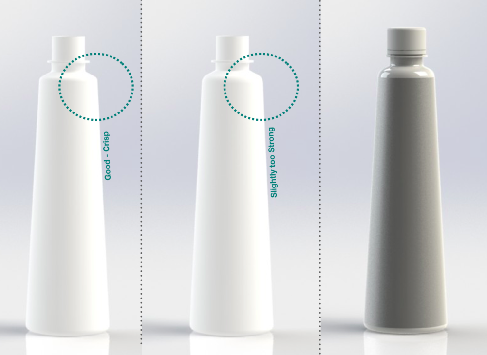 Bottle Re-Design ( 2015 )   Problem  Existing Design Specifications Cause Low Production Quality   Responsibilities  Redesign Bottle Design to Maximize Production Quality & User Experience   Challenges   Maintain Aesthetic of Current Paper Bottle out of Plastic Enlarge Volume to 16.9fl. oz. Undefined Product Requirements - Compensate for New Specs.   Outcome  Provided Data Driven Insights for Styling Used hand-drawings & sketches to communicate and refine concept. Produced SolidWorks Model for Blow Molded Manufacturing