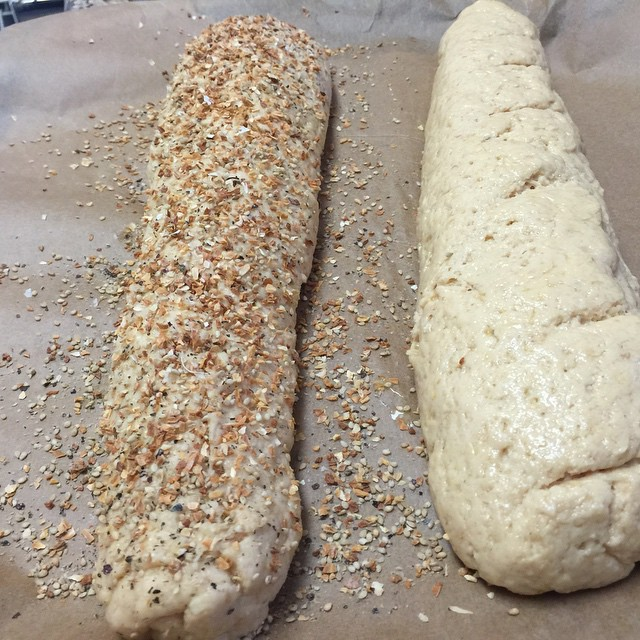 Baguettes anybody? Left: roasted onion, sesame and seaweed. Right: plain