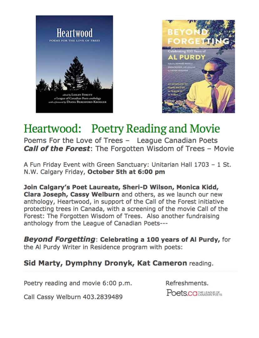 Heartwood: Poetry Reading and Movie ~ Calgary — The Alberta