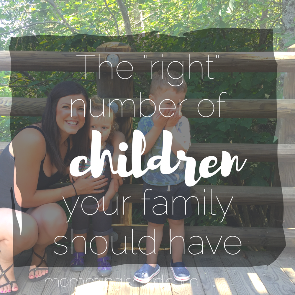 "The right number of children your family should have | Every single day, I feel unqualified to write or talk about how hard momming actually is. I look around at friends with twins, or triplets or 4 kids or 6 or 7 kids and I watch them thrive as mothers. I watch their children fall in line like ducklings when their mama calls them. I watch their children play nicely. I see those healthy, well-balanced meals they pin or share on Instagram and I can't help but think ""what is wrong with me that I can't even handle two kids?"""