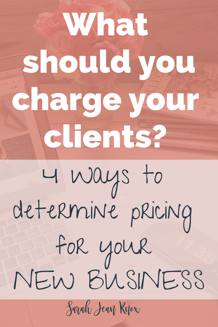 How to charge your clients for your business or services? I remember how intimidating it was, but try these 4 strategies to help determine pricing for your new business. 1. Find out what other people in your field are charging 2. Recognize your worth 3. Trial and Error 4. Decide what would make it worth your time and investment | Sarah Jean Knox creates resources for stay at home moms who want to earn money from home