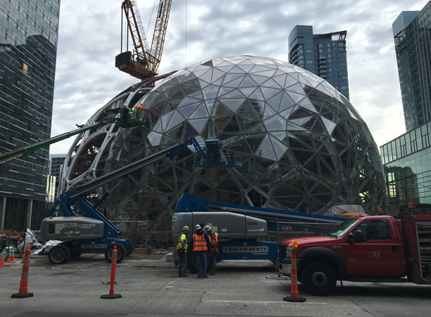 A whole new world is being created by Amazon's urban campus in downtown Seattle.