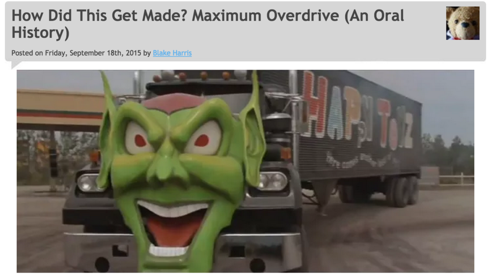 9/18/2015: MAXIMUM OVERDRIVE