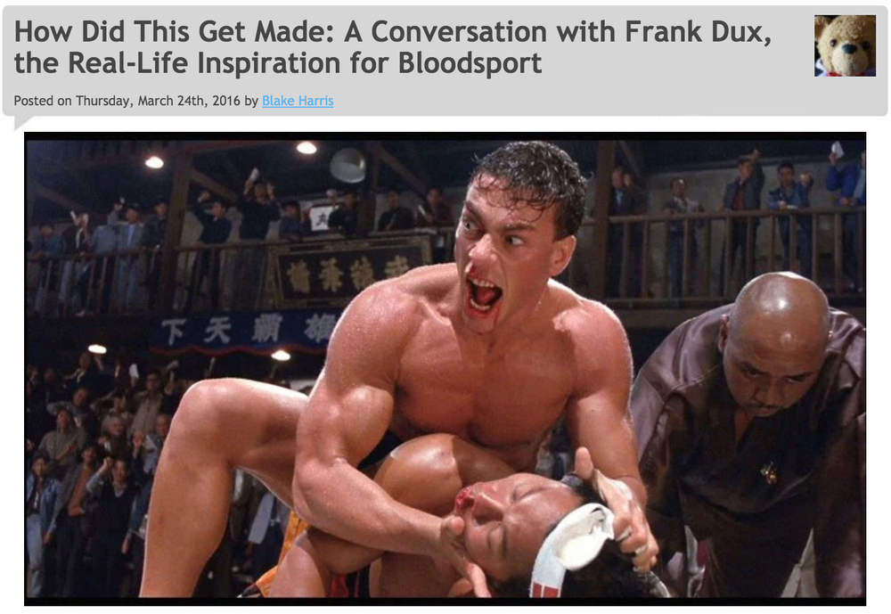 3/24/16: BLOODSPORT (A Conversation with Frank Dux)