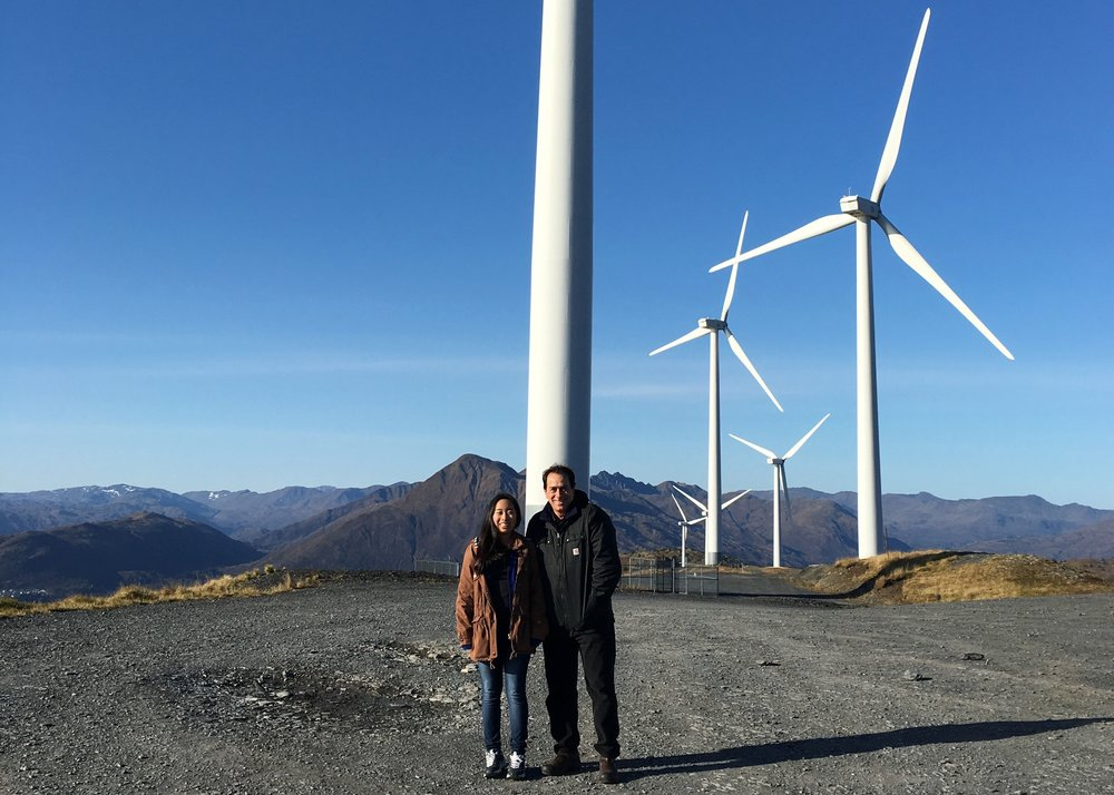 Kiae and Ron at a windfarm in October 2016 during the Wind Turbine inspection for the Kodiak Electric Association.