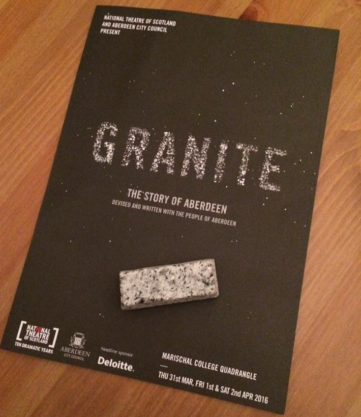 The programme and a wee granite cassie given to the audience after the performance.