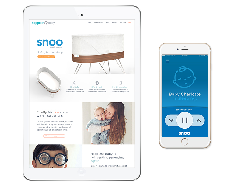 Happiest Baby:  Snoo launch site and mobile app.