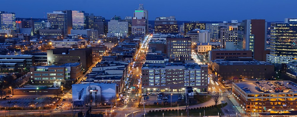 Downtown wilmington de night view