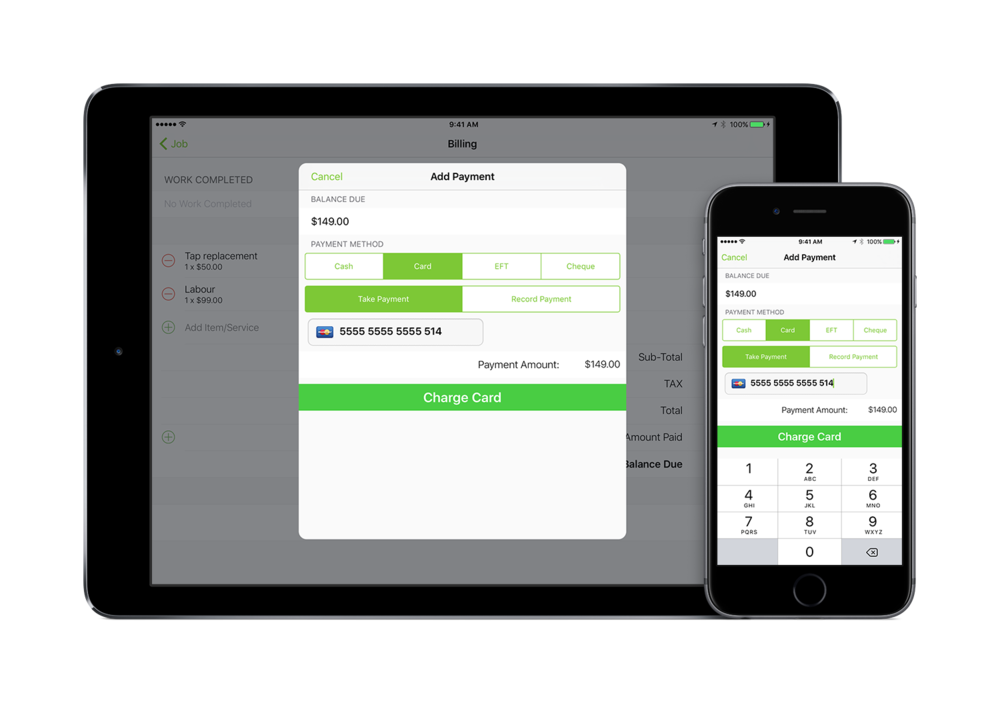 Get paid faster - Produces professional invoices in seconds and even take payment before you leave the job.