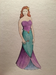 A sketch for our own mermaid, Ariel, by Costume Designer Robin McGee.