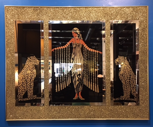 Queen of The Leopards Mirrored Wall Art<br>60W x 48H<br>$975.00