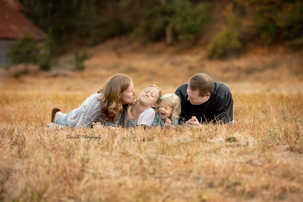 Family portrait in a field fall colors - Redding CA photographer - Dani D Photography