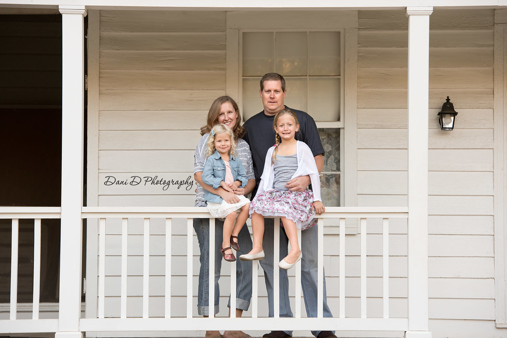 Family on front porch - Redding CA photographer - Dani D Photography
