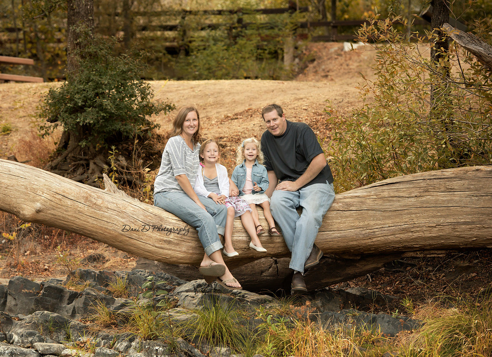 Family photo on a log - Redding CA photographer - Dani D Photography