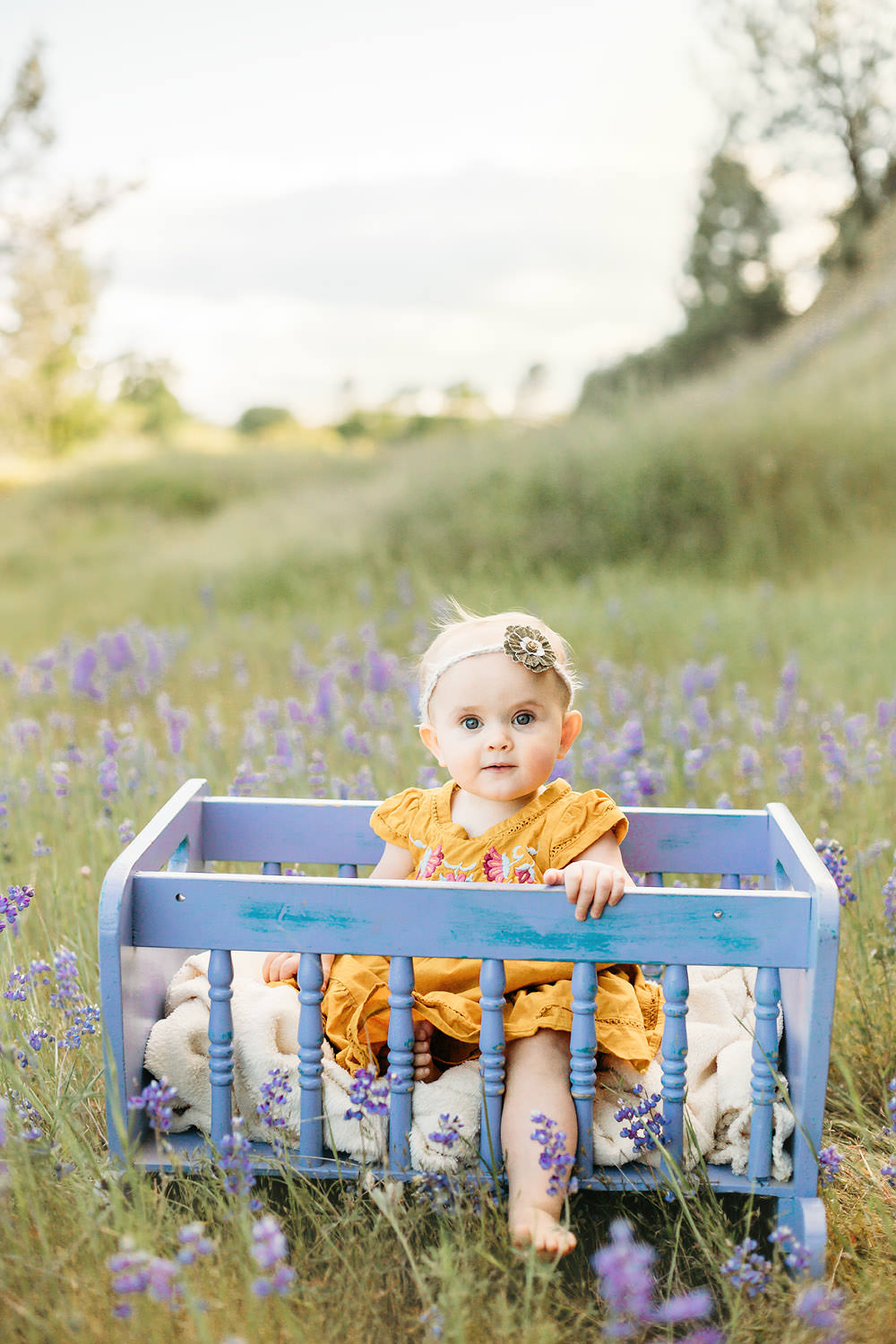 Toddler in a yellow dress sitting in flowers - Redding CA family Photographer
