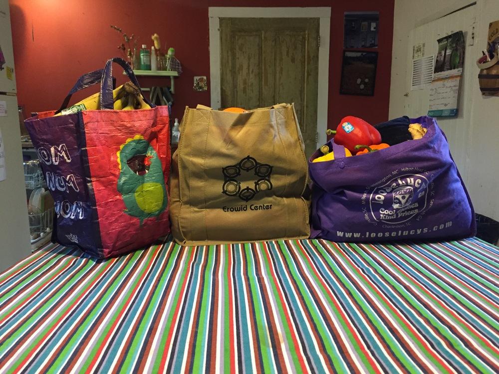 Some of my favorite reusablegrocery bags. Original image taken by David Wilder.