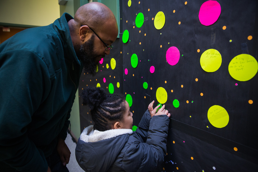 "Dudley dad helps his daughter answer the question, ""What's your vision for the neighborhood in 2030?"""
