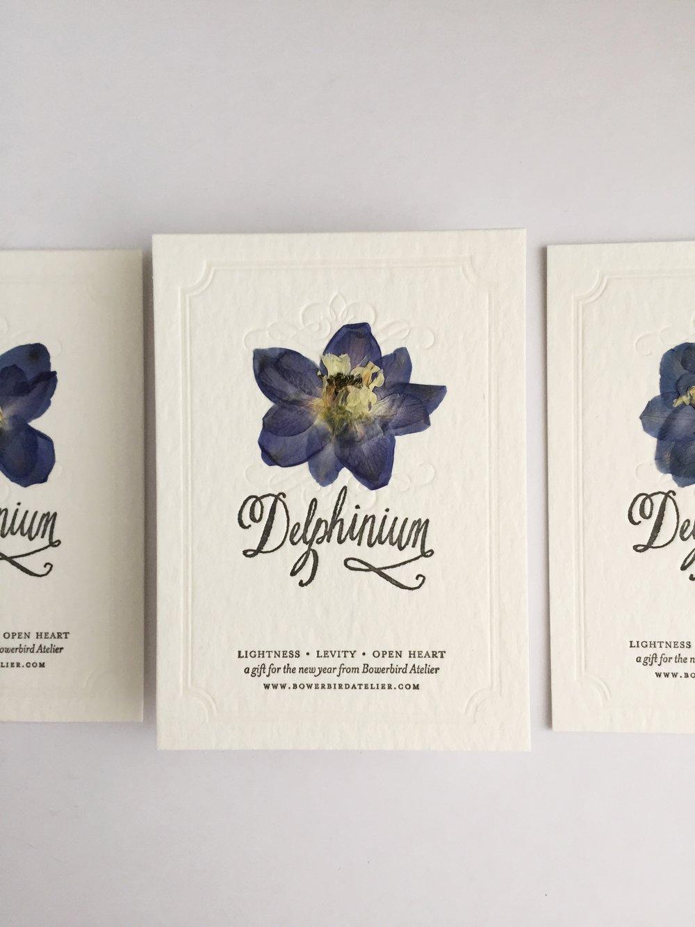 Pressed Flower Letterpress Card by Bowerbird Atelier