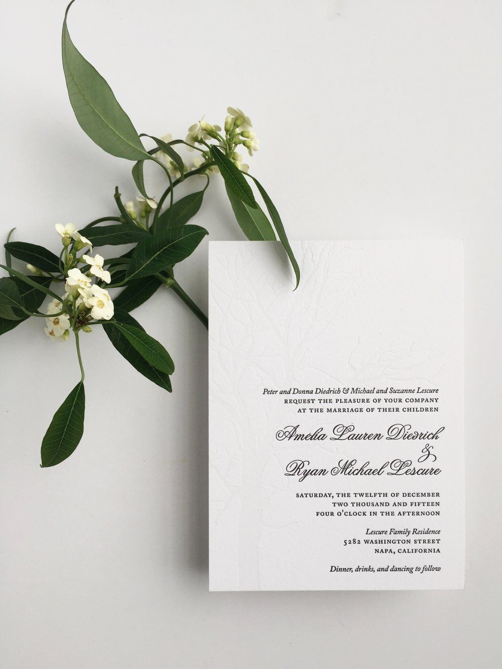 Letterpressed Blind Debosed Invitation by Bowerbird Atelier