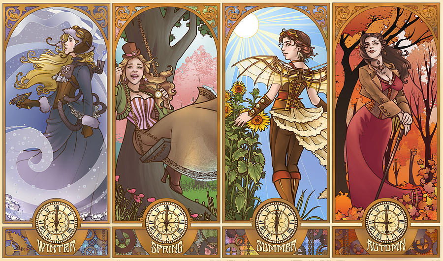 Art Nouveau Steampunk seasons digital art