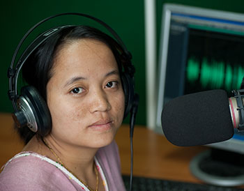 Naw Noreen, reporter for Democratic Voice of Burma Radio   (credit: Kim Nguyen van Zoen/Internews)