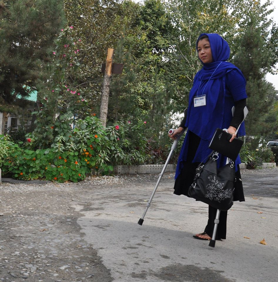 Amina Azimi, founder of Women with Disabilities Advocacy Committee, lost her right leg from a rocket propelled grenade that crashed near her home. (Credit: UNDP Afghanistan)