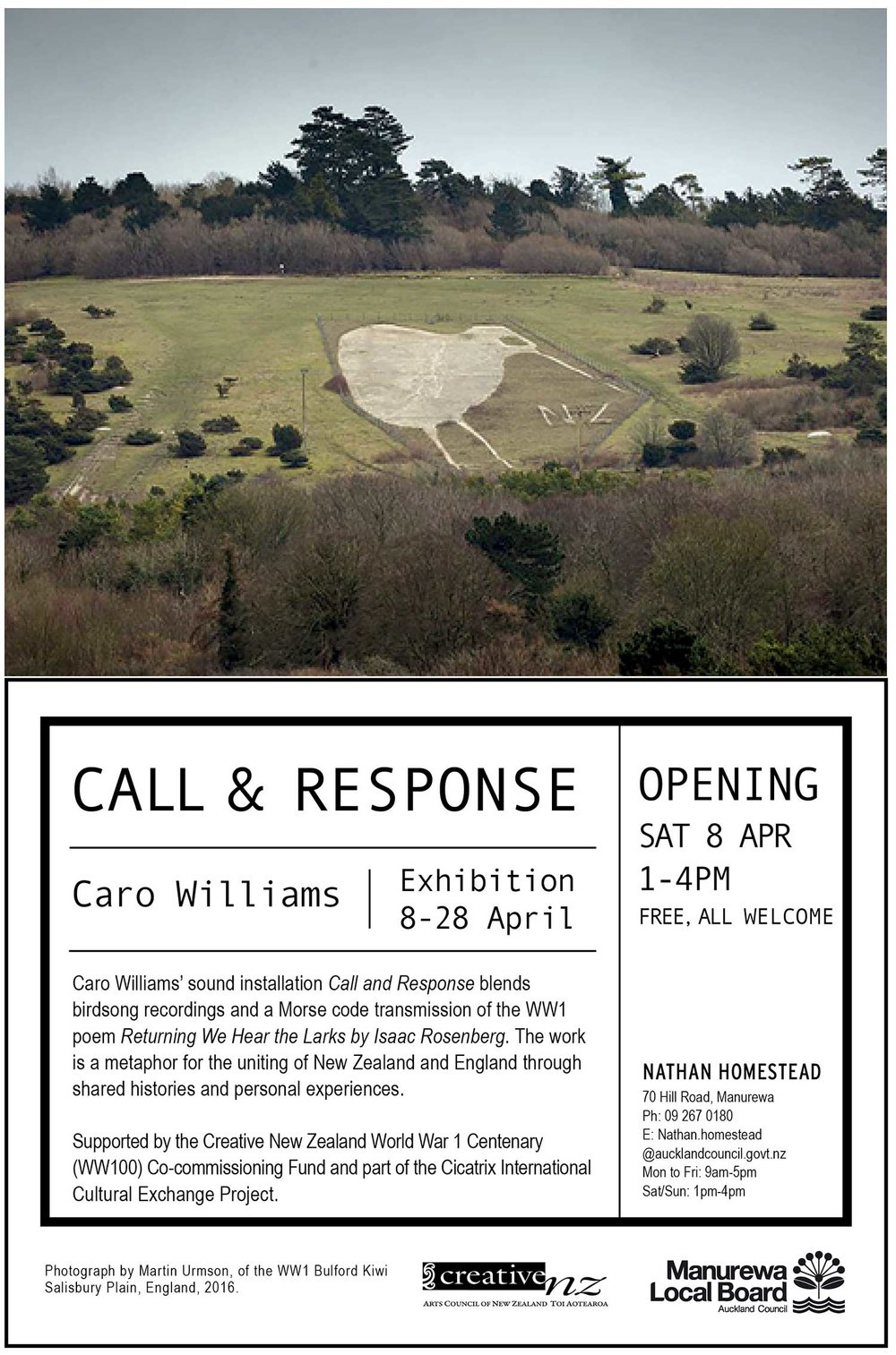 I am excited to be exhibiting my sound installation Call and Response in the gardens of the Nathan Homestead and preparing for the opening on Saturday afternoon.   Call and Response links the military landscapes of two far flung countries through birdsong and poetry. The dawn chorus recordings from New Zealand were made at Fort Takapuna Historic Reserve, Auckland and those from England at the site of the Bulford Kiwi on Salisbury Plain during my recent artist residency. The giant Kiwi, carved into the chalk by New Zealand troops impatient to return home at the end of the First World War, remains perfectly preserved today.