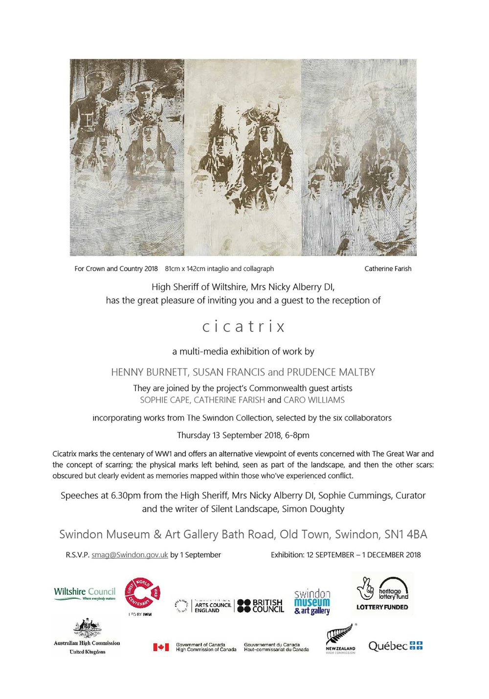 CICATRIX Exhibition at the Swindon Museum & Art Gallery  12 September to 1 December 2018  Opening 13 September 6-8pm