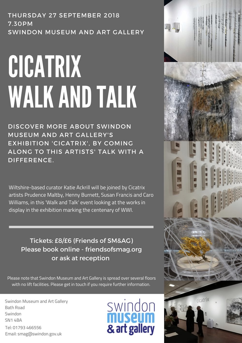 Cicatrix Walk and Talk  at the Swindon Museum and Art Gallery   Thursday 27 September  2018 at 7.30pm   http://swindonmuseumandartgallery.org.uk/event/cicatrix-walk-and-talk/    http://friendsofsmag.org/events/cicatrix-call-response-walk-and-talk/