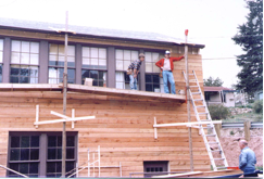 The cedar siding was added to the outside of the church during the Kirby's time serving Kittredge