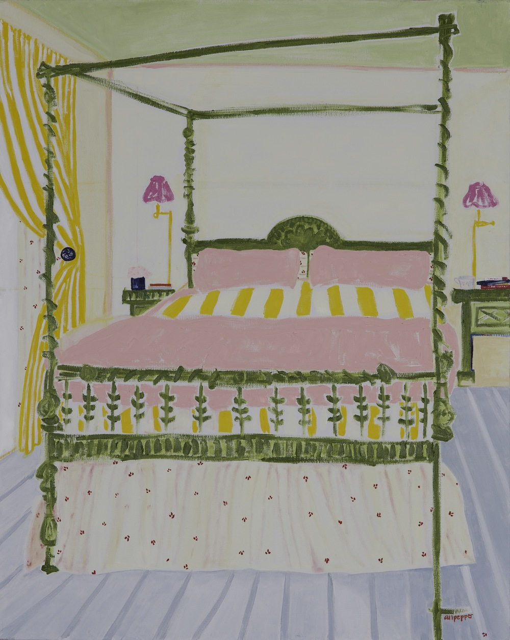 e.m. gordan's bed    oil + pencil on canvas  |  30 x 24