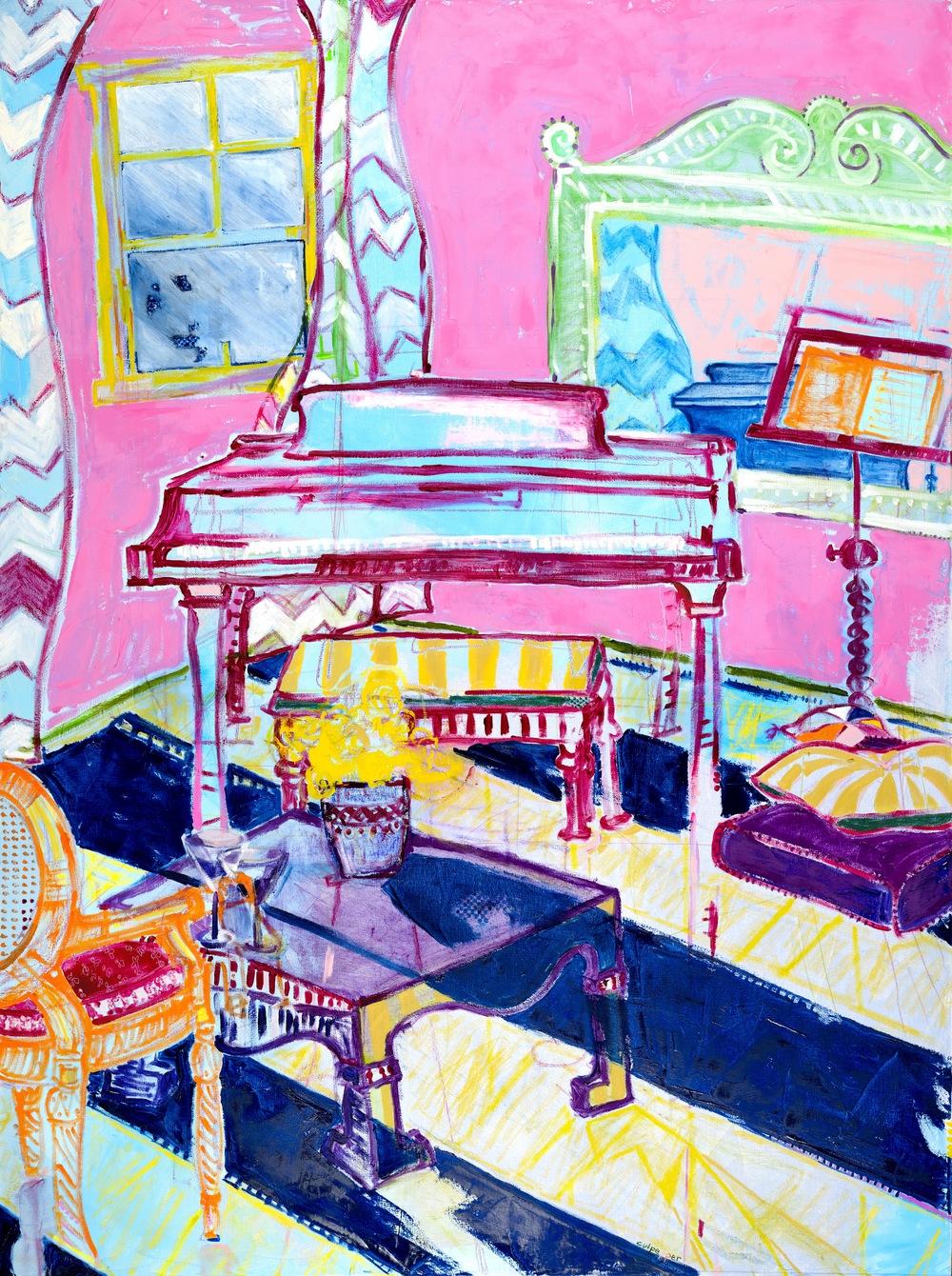 lessen    oil+ pastel on canvas | 48 x 36