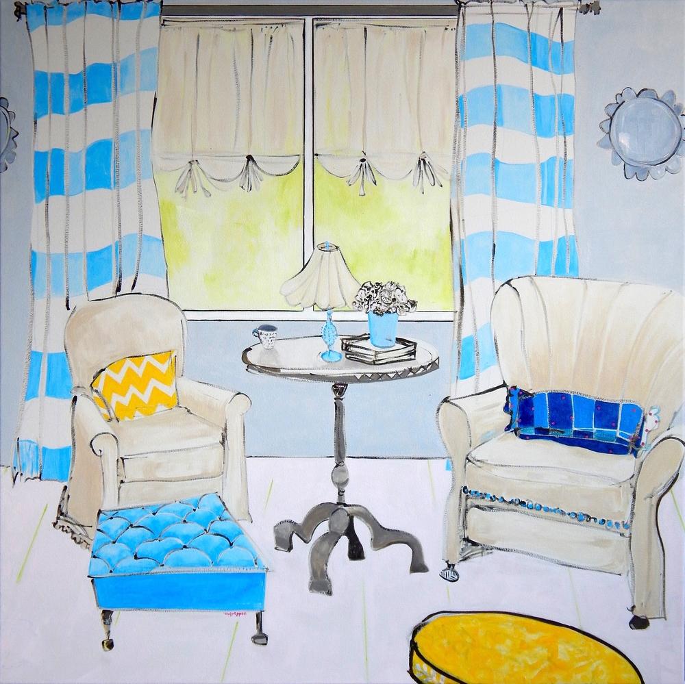 curtains    oil + pencilon canvas  |  36 x 36