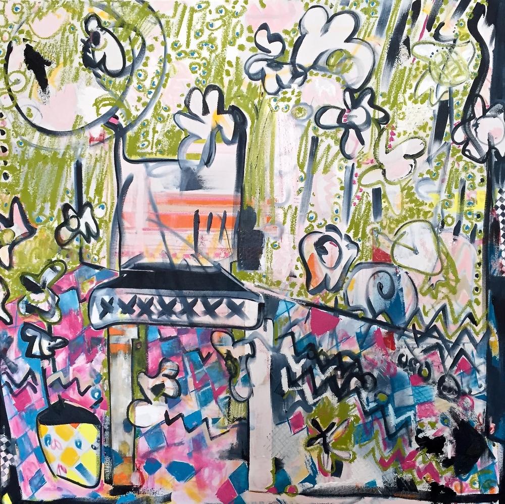 wonderland    oil, pencil + oil stick on canvas |48 x 48