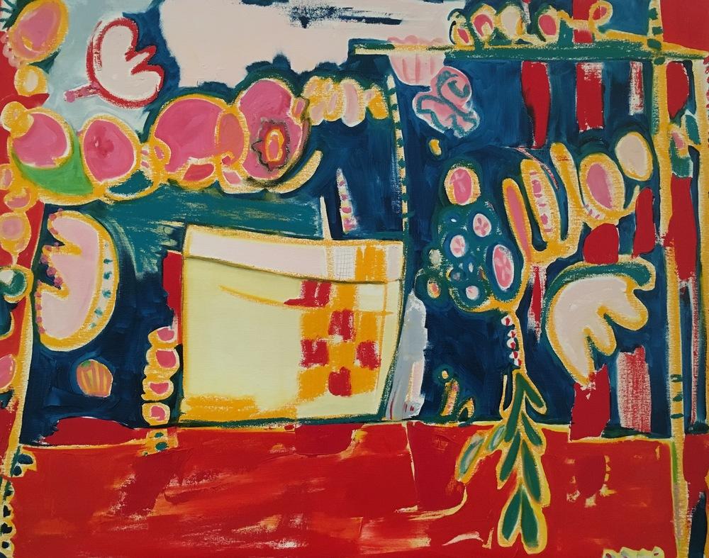 locker room    oil, pastel + pencil on canvas  |  24 x 30