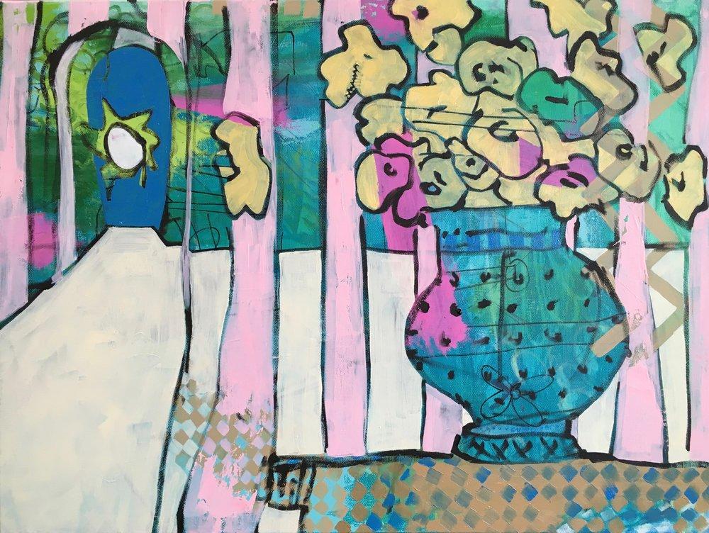 snapdragon    oil + Sharpie on canvas  |  18 x 24